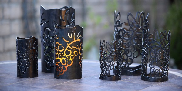 "Vineyard Iron Candle Holders & Candles, Positive 4.5"" Diameter (Candle Included)"