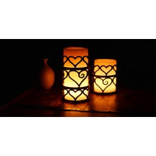 Iron Candle Holders Design 3.5 to 8 inches Diameter Heart Shaped (Candles included)(Quantity discount 24 or more call)