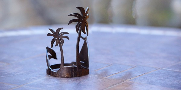 Iron Candle Holders Design 3.5 to 8 inches Diameter Island Palm (Candles included) (Quantity discount 24 or more call)