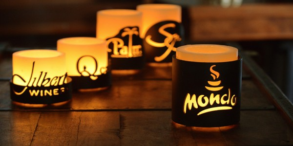 "Personalized 4.5"" Diameter Custom  Iron Candle Holders & Candles (photo is example only)(Quantity discount 12 or more call)"