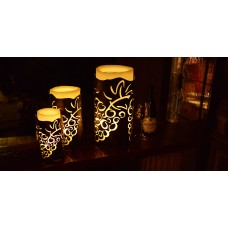 "Vineyard Iron Candle Holders & Candles, 3.5"" Diameter (Candles included) (Quantity discount 24 or more call)"