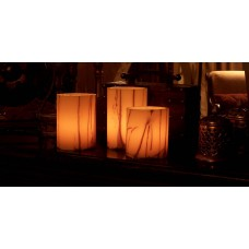 "Rechargeable Candle System, Commercial Grade Nexis LED up to 36K Hours Battery Lifespan (3"" Diameter Oriental Design Round Wax Luminaries Included)"