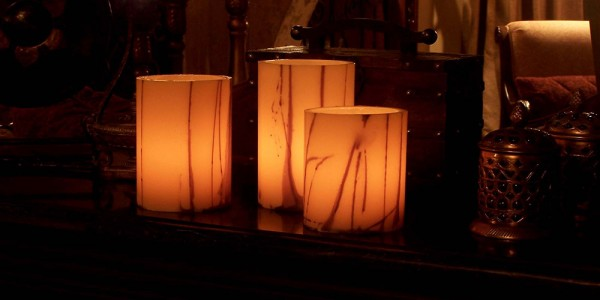"Evolution Rechargeable 12 to 48 Smart Candle System 14500 Hours Lifespan (3"" Diameter Round Wax Luminaries With Line Design Included)"