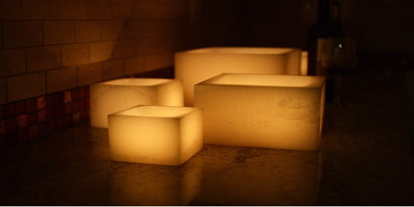 "Rechargeable Candle System, Commercial Grade Nexis LED up to 36K Hours Battery Lifespan (5.5"" wide Square Wax Luminaries Included)"