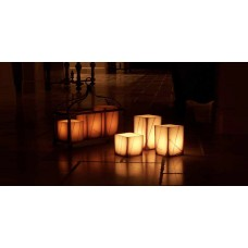 "Rechargeable Candle System, Commercial Grade Evolution LED 14500 Hours Lifespan (4"" Wide Square Wax Luminaries With Line Design Included)"