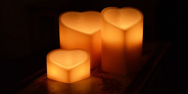 "Flameless LED Candles - Heart Shaped / Timer or Remote Control options (7.5"" wide by 6"" or 8"" or 10"" Tall)(Quantity discount 24 or more call)"