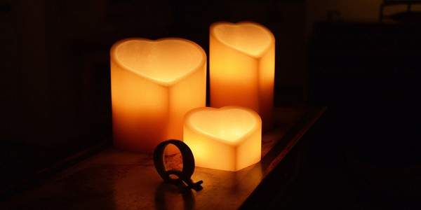 "Rechargeable Candle System, Commercial Grade 10500 Hours Lifespan 12 to 48 pack  (5"" to 9.5"" Wide Heart Shape Wax Luminaries included)"
