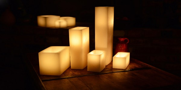 "Hollow Candles Wax Luminaries Rectangle (5 1/2"" by 2 1/2"" wide by 3"", 4"", 5.5"" and 7"" Tall) as low as $9.80"
