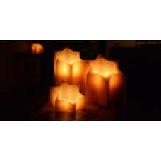 "Hollow Wax Candles - Star of David / Timer or Remote Control options (3.5"" or 5"" wide by 6"" or 8"" or 10"" Tall)(Quantity discount 48 or more call)"