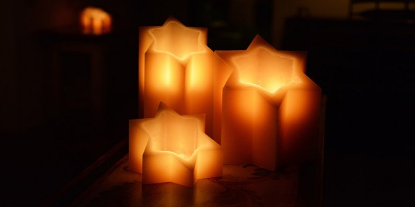 "Flameless LED Candles - Star of David / Timer or Remote Control options (3.5"" or 5"" wide by 6"" or 8"" or 10"" Tall)(Quantity discount 48 or more call)"