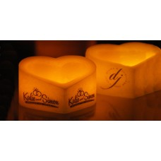 "Custom Personalized Heart Shaped Hollow Candles (5"" to 9.5"" Wide) (Fuel Cells included)(Quantity discount 48 or more call)"