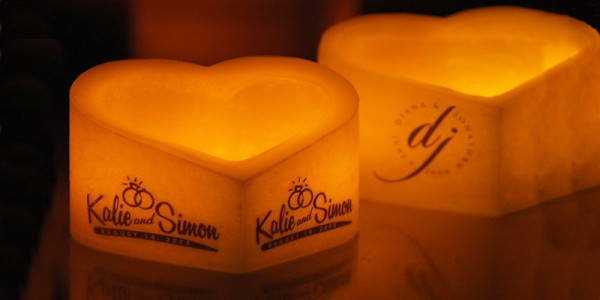 "Custom Personalized Candles, Flameless Heart Shaped Candles / Timer or Remote Control options(5""  to 9.5"" Wide) (LED's Included)(Quantity discount 48 or more call)"