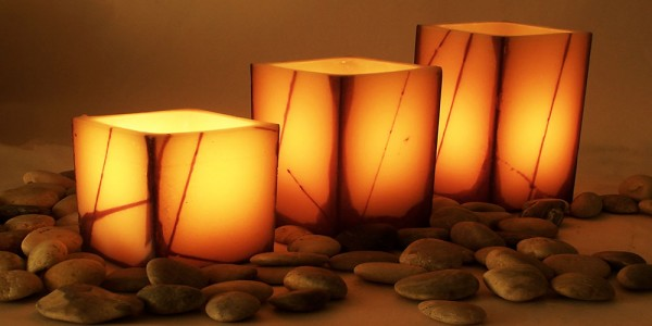 "Electric Hardwired Low Voltage LED Candles System (6 to 11 set)(5.5"" Wide Oriental Design Wax Luminaries Included)"
