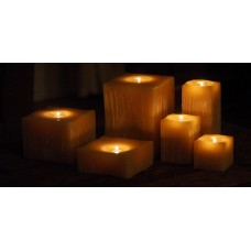 "Reusable Flame Top Square Candles (4"" Wide by  3"", 4"", 5.5"" and/or 7"" Tall)(quantity discount 48 or more call)"