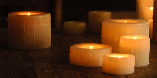 "Reusable Flame Top Round Candles (5.5"" Diameter by  4"", 5.5"", 7"" tall)(quantity discount 24 or more call)"