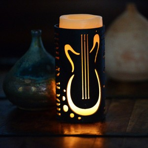 Iron Candle Holders Design 3.5 to 8 inches Diameter Music Guitar (Candles included)(Quantity discount 24 or more call)