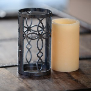 Iron Candle Holders Design 3.5 to 8 inches Diameter Cross Shaped (Candles included)(Quantity discount 24 or more call)