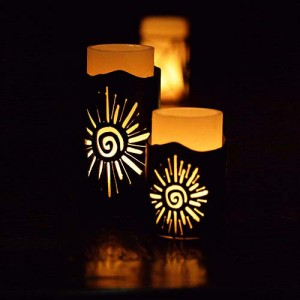 Iron Candle Holders Design 3.5 to 8 inches Diameter Sparks (Candles included)(Quantity discount 24 or more call)