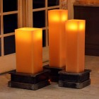 "Square 10 inches wide Heavy Iron Candle Holders for 5.5"" wide Large Candles (Candles sold separately)"