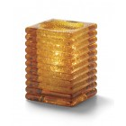 Glass Candle Holder - Amber Horizontal Line Lamp