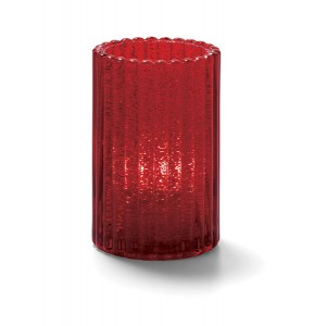 Glass Candle Holder - Ruby Jewel Vertical Rod Glass Cylinder