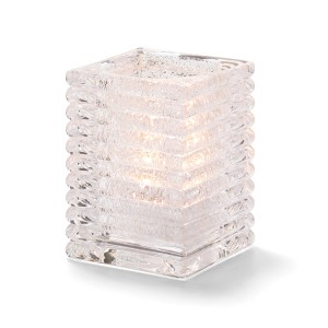 Glass Candle Holder - Clear Horizontal Line Lamp