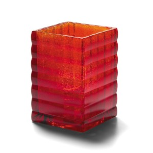 Glass Candle Holder - Ruby Jewel Optic Block