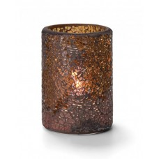 Glass Candle Holder - Gold Crackle