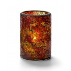 Glass Candle Holder - Red & Gold Crackle