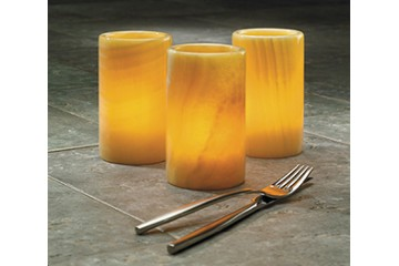 GLASS, ONYX & PORCELAIN CANDLE HOLDERS