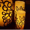 "Vineyard Iron Candle Holders & Candles, Positive 3.5"" Diameter (Candle Included)(Quantity discount 24 or more call)"