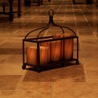 "Designer Iron Candle Holders -  16"" x  6""  ""The Bird Cage"" (Candles included)"