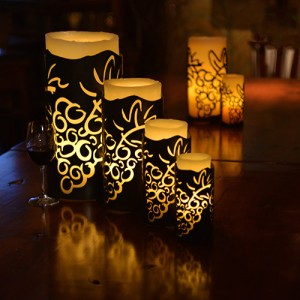 "Vineyard Iron Candle Holders & Candles, 4.5"" Diameter (Candle Included)"