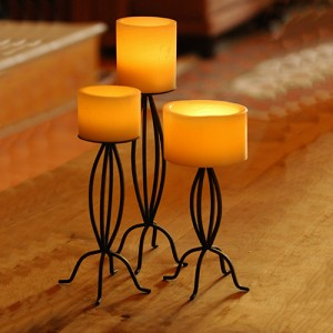 Set of Three Metal Candle Stands (Candles included)