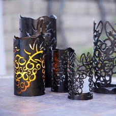"Vineyard Iron Candle Holders -  Set of 3 Holders, 3.5"", 4.5"" and 6""  Diameter (Candles included)"