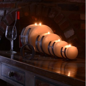 "Horizontal Iron Candle Holders & Candles, 4.5"" Diameter (Quantity discount 24 or more call)"