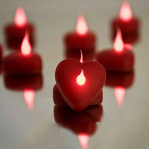 Flameless Red Heart LED Tea Lights (red flame color tealights)