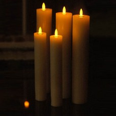 "2"" Diameter by 8"" or 10"" or 12 or 17"" tall, Square or Round Taper, Flickering LED, realistic Wax Candles.(Quantity discount 48 or more call)"