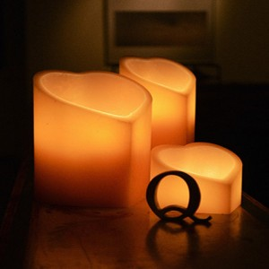 "Flameless LED Candles - Heart Shaped / Timer or Remote Control options (5"" wide by 6"" or 8"" or 10"" Tall)(Quantity discount 48 or more call)"