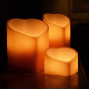 "Flameless LED Candles - Heart Shaped / Timer or Remote Control options (9.5"" wide by 7"" or 9"" or 11"" or 13"" Tall)(Quantity discount 12 or more call)"