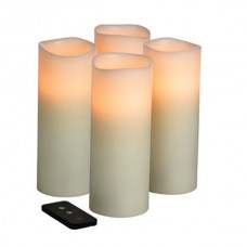 Remote Controlled 3x8 Flameless LED Wax Candles with Timer (4 candles pack)