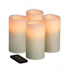 Remote Controlled 3x6 Flameless LED Wax Candles with Timer (4 candles pack)