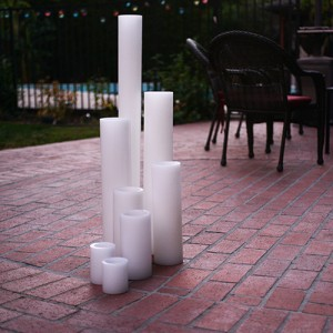"Flameless LED Candles / Timer or Remote Control options (5.5"" diameter by 34"" or 36"" Tall)(quantity discount 6 or more, call)"