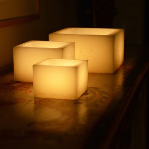 """Rechargeable Candle System, Commercial Grade Smart Candle Platinum 10500 lifespan 12 to 48 pack (5.5"""" Wide Square Wax Luminaries Included)"""