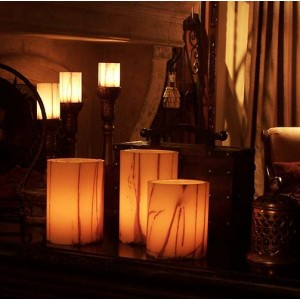 "Electric Hardwired Low Voltage LED Candles System (6 to 11 set)(3"" Diameter Oriental design Wax Luminaries Included)"