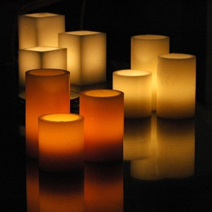 "Electric Hardwired Low Voltage LED Candles System  (6 to 11 set)(3"" Diameter Wax Luminaries Included)"