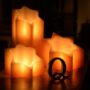 "Electric Hardwired Low Voltage LED Candles System (6 to 11 set)(5"" to 9.5"" Wide Star of David Shape Wax Luminaries Included)"