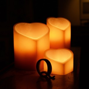 "Electric Hardwired Low Voltage LED Candles System (6 to 11 set)(5"" to 9.5"" Wide Heart Shape Wax Luminaries Included)"