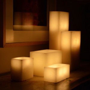 "Electric Hardwired Low Voltage LED Candles System (6 to 11 set) (5"" wide 8"" Rectangle Wax Luminaries Included)"