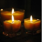 """Organic Beeswax Candles in a Glass Cup (3"""" Wide x 3"""" Tall)"""